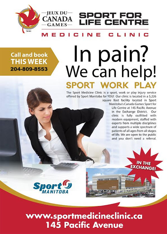 In pain? We can help! Sport For Life Centre Medicine Clinic. Call and book this week: 204-809-8553 or online sportmedicineclinic.ca Find us at 145 Pacific Avenue