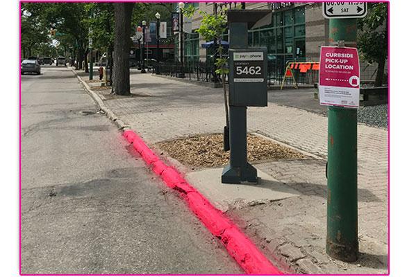 pink curbside pickup zones