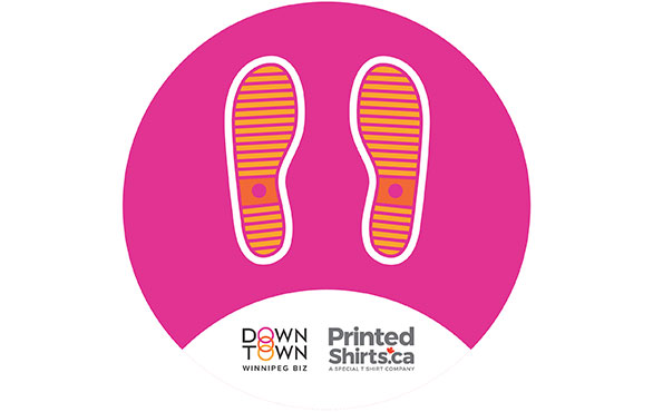 Downtown Winnipeg BIZ floor decals by Printed Shirts a special t-shirt company
